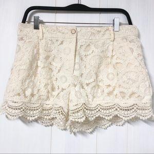 Monteau Cream Crochet Lace Shorts